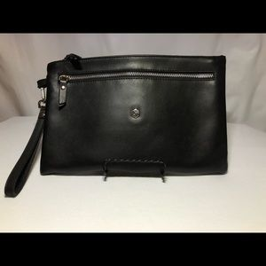 Valentina Black Leather Clutch Purse Made In Italy